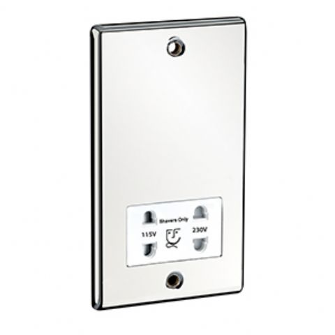 Dual Voltage Shaver Socket Chrome / White Insert