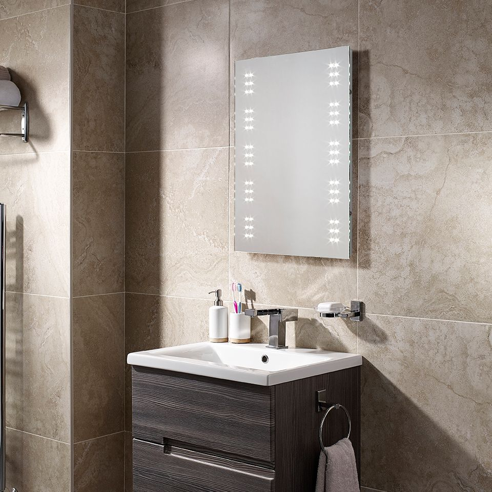 Led battery operated mirror for Zone 0 bathroom lights