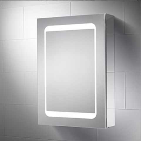Dual Lit Single Cabinet Mirror - Infrared Sensor, Demister Pad & Charging Socket