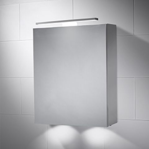 Cabinet Mirror with Over and Under Lighting - Infrared Sensor, Demister Pad, Charging Socket