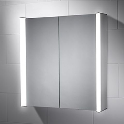 Diffused LED Double Cabinet Mirror with Infrared Sensor & Shaver Socket