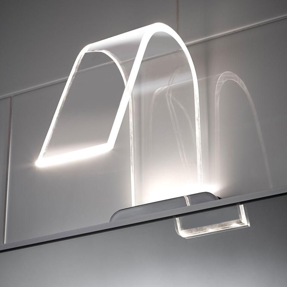 cascade curved acrylic led over mirror light. Black Bedroom Furniture Sets. Home Design Ideas